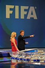 Draw Master Jerome Valcke and Charlize Theron during the 2010 Soccer World Cup Final Draw