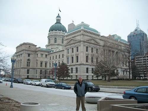 Justin in front of the Indiana State Capital in Indianapolis