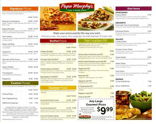 Papa Murphys Pizza Baking Instructionsflyer Side 2 A Photo