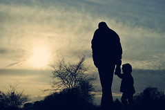 Any man can be a father.  It takes someone special to be a dad. (~aspidistra~) Tags: park family winter light sunset 2 sun clouds 50mm nikon toddler father daughter silhouettes coffeeshop explore fp pse actions 252 d90 17365 mytwofavouritepeople