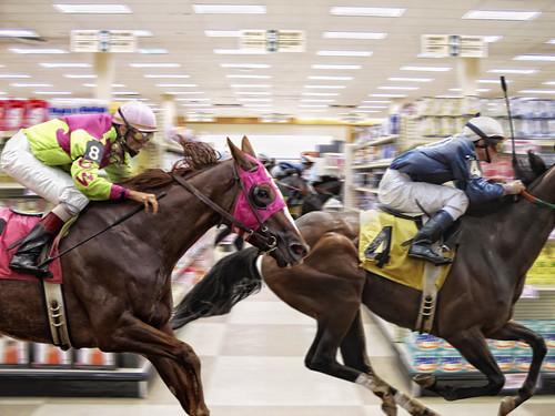 無料写真素材, グラフィック, フォトレタッチ, 馬・ウマ, 競走・レース, 競馬, スーパーマーケット