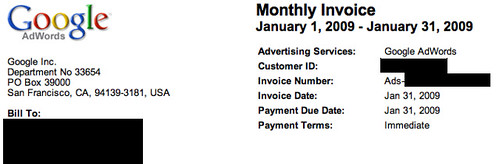 google adwords hides their tax id from invoices