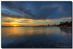 Tonight's Sunset (Fraggle Red) Tags: ocean sunset sun water skyline clouds evening florida jpeg canonef1740mmf4lusm hdr brickell keybiscayne biscaynebay virginiakey 3exp rickenbackercswy miamidadeco dphdr cffaa