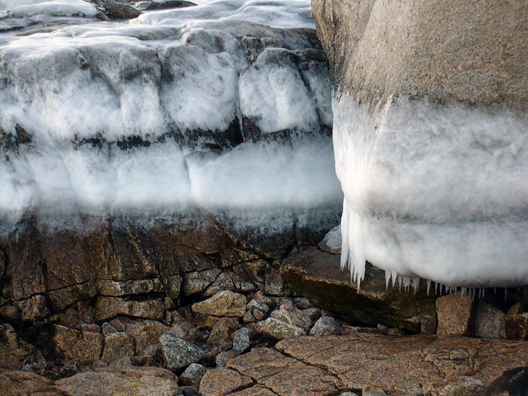 Salt spray ice on granite