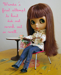 wanda tries to knit