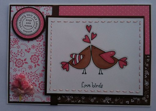Love Birds pink & brown