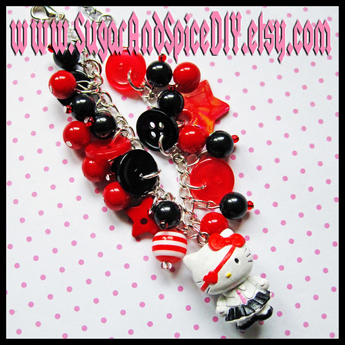 Hello Kitty Punky School Girl Buttons and Beads Handmade Charm Bracelet