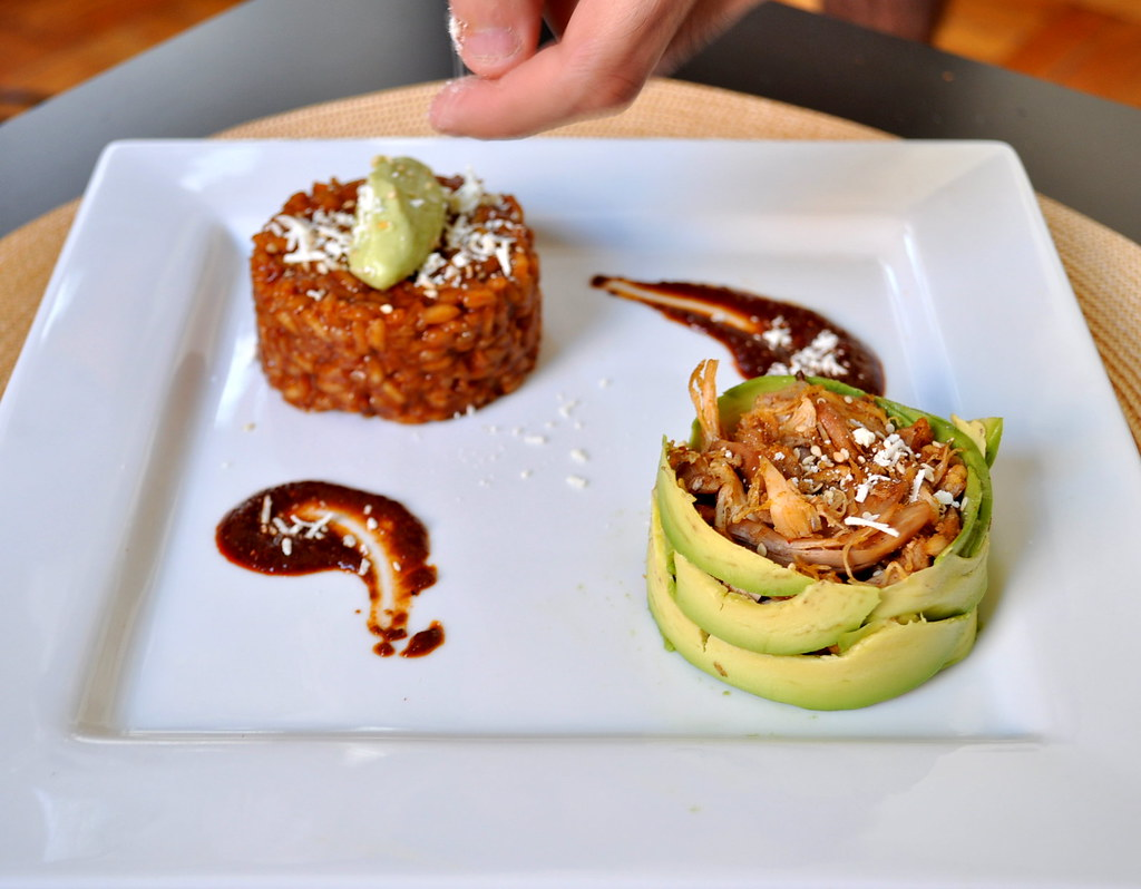 Mole Risotto with avocado puree + Avocado wrapped chicken 2