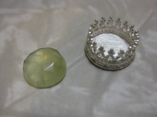 gallery wire and prehnite ring cup in sterling