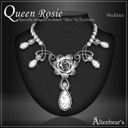 Dark Queen Rosie necklace white