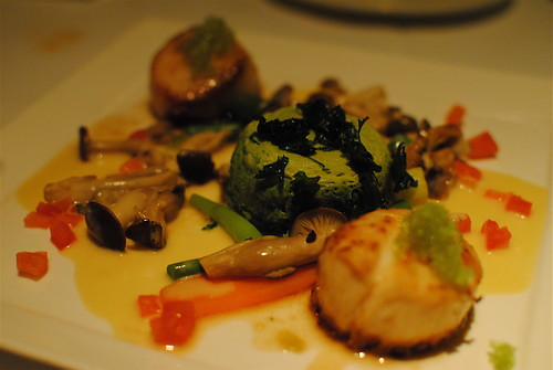 scallops with zucchinni flan