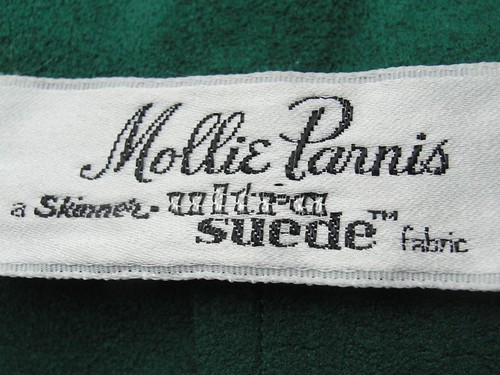 Vintage Mollie Parnis Ultra Suede Label at Twirl Vintage Co
