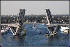 Fort Lauderdale, Fla ~ (**Mary**) Tags: ocean city bridge cruise sea usa celebrity water port boats marine cityscape harbour cruising fortlauderdale drawbridge saltwater porteverglades celebritycruiseship 5photosaday celebrityequinox