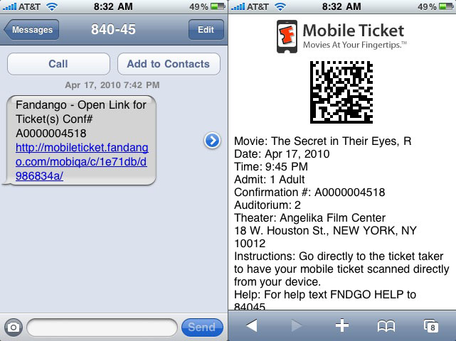 Fandango Mobile Ticket