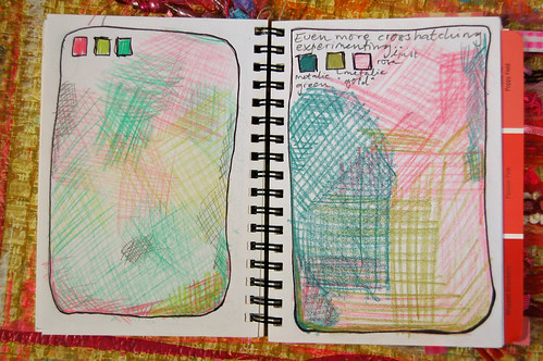 Pink Notebook: crosshatching with green