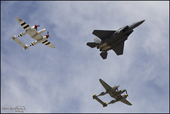 Lightnings Flying with an Eagle (K-Szok-Photography) Tags: california canon fighter aircraft aviation flight airshow socal 5d canon5d lightning lockheed canondslr warbirds warbird chino canon70200f4l f15 inlandempire p38 adifferentpointofview planesoffameairshow sbcusa alltypesoftransport aphotographersnature kenszok stikeeagle
