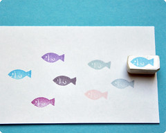 little fish hand carved rubber stamp