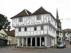 Thaxted Guildhall (Louise and Colin) Tags: old uk windows england english heritage history ancient britain culture medieval roofs ridiculous british marketplace unusual lovely pillars essex halftimbered guildhall supports thaxted timberframe greyandwhite jettied jettiedbuilding twinroofs