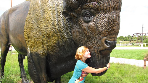 Becky loving the giant buffalo