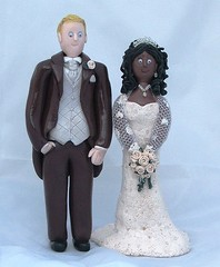 Bride and Groom Wedding Cake Toppers (pauline@weddingtreasures) Tags: flowers wedding cake groom bride fimo figurines clay sculpey topper