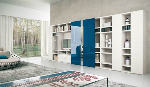 Modern-and-stylish-furniture-design-in-white-with-blue-elements