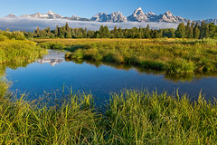 In the Mud (Phijomo) Tags: morning mountains reflection nature water fog canon landscape outdoors scenic wyoming grandtetons ponds mountainscape grandtetonnationalpark canon24105mmf4l blacktailponds diamondclassphotographer flickrdiamond blacktailpondsoverlook phijomo philipjmonahan canon5dmkii flickrclassique
