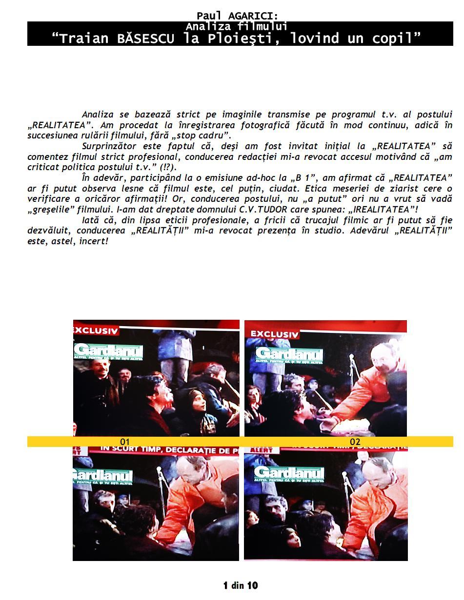 """Paul AGARICI: Analiza filmului """"Traian BĂSESCU la Ploieşti, lovind un copil""""-1"""