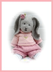 PRIMROSE PORTRAIT (Mary Jane's TEAROOM) Tags: pink cute rabbit bunny alpaca toy toys knitting pattern cotton rabbits knitted primrose