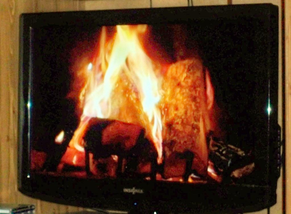 HD Satellite TV Fireplace.