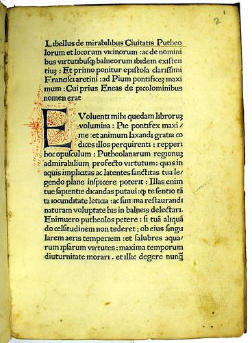 Initial in Mirabilia Puteolorum: De mirabilibus Puteolorum et de balneis ibidem existentibus