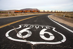 Route 66 and a Train (Dave Toussaint (www.photographersnature.com)) Tags: california travel usa nature canon landscape photo route66 exploring 2009 bnsf intermodal burlingtonnorthernsantafe daggett stacktrain 40d anawesomeshot flickrdiamond photographersnaturecom davetoussaint davetoussaintcom needlessubdivision