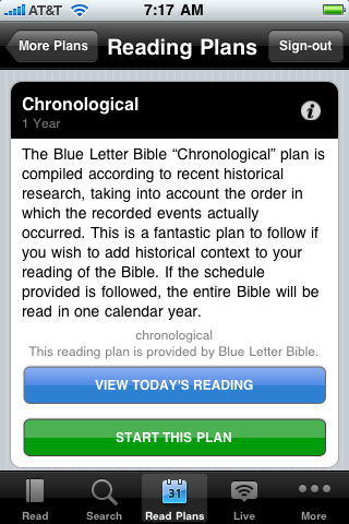 Daily Reading Plans with the free YouVersion iPhone Bible App