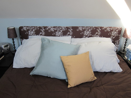 11 Shower Curtain Repurposed To A Headboard Slipcover