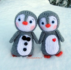 Kawaii Amigurumi Penguin couple crochet pattern (HandmadeKitty=^_^=) Tags: snow animal penguin doll day pattern crochet valentine plush pdf amigurumi patron iglu stuffie virka ganchillo uncinetto   szydelko handmadekitty hakeln  hakelnadel