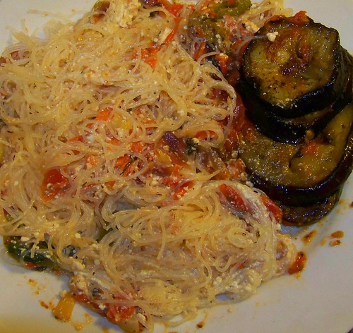 Roasted Eggplant & Homemade Sofrito w/ Angel Hair Pasta.