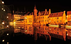 Canals in Bruges city centre.jpg (Russell F Spencer) Tags: city longexposure urban reflection water night dark mirror town canal nikon europe russell darkness belgium belgique nps cathederal f bruges spencer nikkor d3 brugges 1424f28