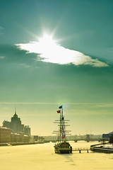 St. Petersburg, Russia (Andrey O!) Tags: blue winter light sky sun snow ice st stpetersburg ship russia flag petersburg saintpetersburg neva piter