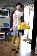 a little yellow (bethantics) Tags: fashion wardrobe whatiworetoday cutepurse crochetedtop colorfultights
