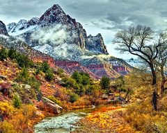 Winter Watchman - Zion National Park (NikonKnight) Tags: park bridge blue light sunset red sky usa sunlight snow nature angel night clouds reflections river landscape utah nationalpark ut nikon skies bracket az canyon national zion np zionnationalpark sunlit zionnp hdr zions virginriver watchman zionsnationalpark d300s zionsnp