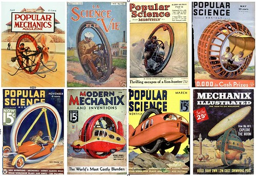 Popular Mechanics avril 1914, La Science et la Vie juin 1923, Popular Science décembre 1924, Popular Science mai 1932, Popular Science novembre 1933, Modern Mechanix juin 1935, Popular Science mars 1938, Mechanix Illustrated juin 1959