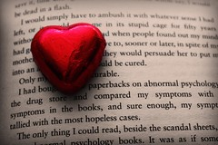 23-02-10 Don't Say In A Letter What You Can't In My Ear (ethan) Tags: red colour paper book words day heart chocolate foil valentines redheart printed selective bookheart heartonpaper