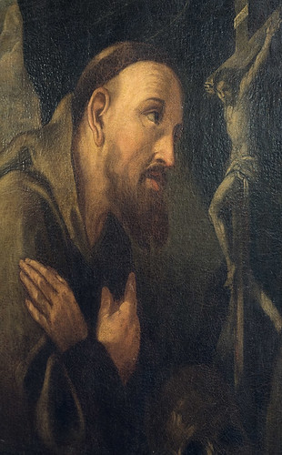 Detail of an oil painting of Saint Francis of Assisi, by Ludovico Cardi da Cigoli, ca. 1613, at the Pere Marquette Gallery of the Saint Louis University Museum of Art, in Saint Louis, Missouri, USA