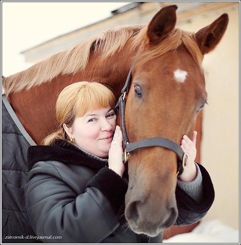 horse, portrait, woman