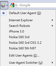 User Agnet Switcher Nokia settings