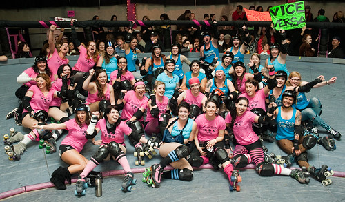 Happy derby girls celebrate