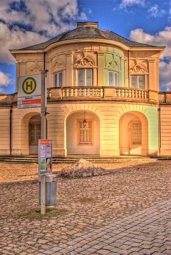 Castle with bus stop HDR
