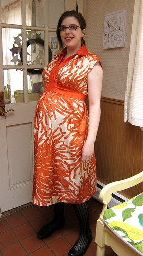 Vintage 1970s McCall's 5921 Orange Silk Floral Maternity Dress