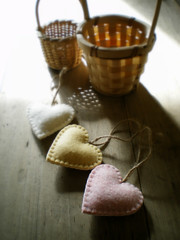 soft (lilfishstudios) Tags: pink shadow white wool yellow felted hearts recycled handmade pastel craft ornaments baskets lilfishstudios feltedwoolsweatermaterial