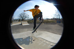 Jay Smith at Ridgefield Skatepark (Weuling) Tags: andy speed lens nose death warm jay skateboarding smith andrew fisheye panasonic skatepark skate skateboard hd hip grab sk8 ridgefield nosegrab opteka d40 weuling andyweuling