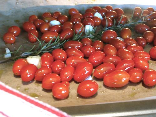 slowly roasting tomatoes